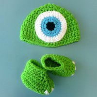 Wholesale Handmade Baby Booties - Mike and Sully Monsters Set,Handmade Knit Crochet Baby Boy Girl Green Halloween Costume,Monster Beanie Hat and Booties,Toddler Photo Prop
