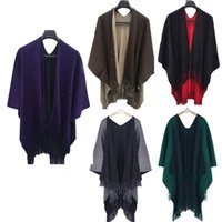 Wholesale wholesale women cashmere sweaters - Wholesale- Women Winter Knitted Cashmere Poncho Scarves Scarf Capes Shawl Cardigans Sweater Coat