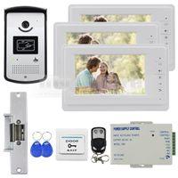 Wholesale electric strike door lock - Video Door Phone Video Intercom Doorbell Buildin RFID Camera 7inch Monitor Electric Strike Lock RFID Keyfobs 1v3