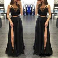 Wholesale Empire Cut Gown Plus Size - 2017 Sexy Two Pieces Long Prom Dresses Spaghetti Straps Chiffon Black Split Side Front Cut away Formal Evening Gowns