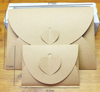 Wholesale Vintage Kraft Envelopes - Vintage Kraft Paper Envelope Bags with Heart Shape Buckle Paper CD Case DVD Bag Postcards Wish Cards Envelope Packing Bags Boxes