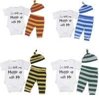 Wholesale Toddler Romper Pcs - 4 Colors Boys Girls Baby Rompers Clothing Sets Cotton Short Sleeve Newborn Romper Striped Pants Hats 3 Pcs Set Toddler Infant Clothes