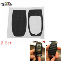 Wholesale audi a4 keys resale online - 2 Set Car Styling Carbon Fiber Key Sticker FOR AUDI A4 A6 Rs4 A5 A7 A8 S5 Rs5 t Q5 S6