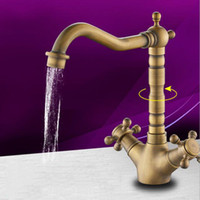 Wholesale Single Handle Waterfall Kitchen Faucet - Antique Kitchen Sink Faucet Centerset Waterfall with Ceramic Valve Two Handles Hot And Cold One Hole Chrome Finished Brass Faucet All-copper