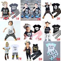 Wholesale Harem Leopard - DHL 9 Styles Kids Ins Clothing Sets Baby Fashion Suits Girls Letter T-Shirt & Pants Infant Casual Outfits Boys Ins Tops & Harem Pants 1-5T