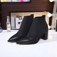 Sexy Fashion Women High Heels 65MM Ankle Boots Design Pointe Toes Casual Shoes Botas Cowskin Preto Frete Grátis