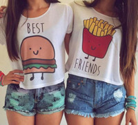 Wholesale Female Friend - Fashion T Shirt Women Hamburger French Fries Cute Printed T-shirt Female Funny Best Friends Tee Shirts Ladies Top