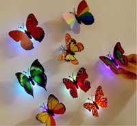 Wholesale Glow Sticks Butterflies - Creative Colorful Led Light Butterfly Night Light Dragonfly Stick-on Wall Room Indoor Decoration Night Glowing LED Ceiling Lights Party Gift