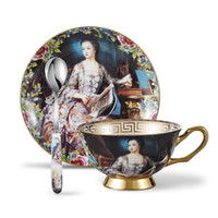 Wholesale Tea Cup Gift Box - Bone China Tea Cup & Saucer Sets Person oil painting with Spoons-10.2Oz,with a Gift Box