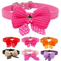 Cute Lovely Adjustable Dog Collar Harness PU Leather Bowknot Bell Cat Dog Colar Puppy Collar Dog Leash Pet Supplies