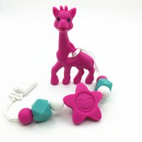 Wholesale Necklace Pacifier - Silicone teething Giraffe Teether Clip ,baby teether pacifier giraffe clip .silicone teething pacifier necklace Hanging Toy