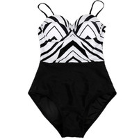 ingrosso monokini a righe bianche nere-Un pezzo di bianco e nero a strisce S-XL Large Size Color Block Monokini costume da bagno a buon mercato modesto donne Push Up nuoto D006