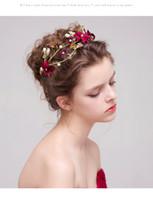 altın kaplamalı kristal taç toptan satış-Moda Rhinestone Kırmızı Çiçek Altın Kaplama Kelebek Hairbands Düğün Tiara İnci Bantlar Gelin Saç Takı Aksesuarları