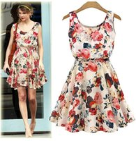 Wholesale Sleveless Mini Dress - Summer Chiffon Dress Women big Floral Print O-Neck dress Casual Sleveless Beach Sundress Vestidos plus size