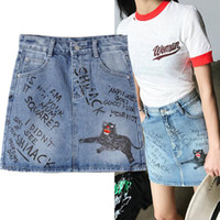 Wholesale Funny Alphabet - Women European style alphabet sketch graffiti animal letters pattern denim skirt women special hand draw chic funny skirt