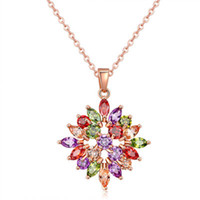 Wholesale Solitaire Marquise Diamond - 2017 Classic Women Vintage Necklace Marquise Swarovski Crystals Diamond Necklace Rose Gold Plated Chain Jewelry 022-NE0132