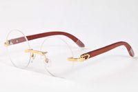 Wholesale Eyeglasses Frame Men Rimless - Fashion Vintage round circle Sunglasses men Women Brand Designer buffalo horn Sun Glasses white Female Retro wood frame Eyewear eyeglasses