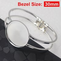 Wholesale Bracelet Making Blanks - Wholesale- 10pcs Free shipping,Silver Plated 30mm Cabochon Setting Cuff Bracelets Blank base for Jewelry Making