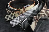 Wholesale Belt Patterns - 2018 New Style Imitation Leather Belt For Men Luxury Brand Grid Pattern Men's Belt High Quality Designer Automatic Buckle Belts