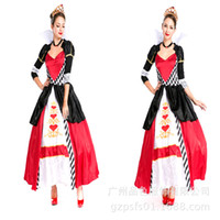 Wholesale Queen Hearts Dress - Red Heart Queen Costume Poker Dress Stage Performance Costume Theme Party Cosplay Carnival With Crown Game Clothing