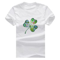 Wholesale Leaf Findings - Find the four leaf clover Man T-Shirt Cotton O Neck Mens Short Sleeve Mens tshirt Male Tops Tees Wholesale