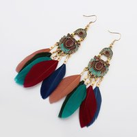 Wholesale Exotic Earrings - New Europe and the United States retro wind feather earrings exotic tassel earrings