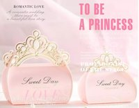 Wholesale Princess Favor Bags Boxes - Wedding Favours Candy Boxes Crown Chocolate Gift Boxes Romantic Paper Candy Bag Box Party Favors Pink Princess Wedding Candy GLO