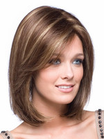 Wholesale Capless Wigs - Xiu Zhi Mei Hot sell 1PCS Capless Classy Stylish Short Straight Brown with Strips Woman's Synthetic Hair Wigs Wig Suit for Daily Life