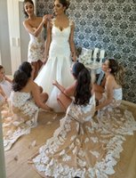 Wholesale Lace Sheath Wedding Dress Luxury - Sexy Luxury Champagne High Low Bridesmaid Dress Beaded Lace Mermaid Bridesmaid Dresses Sweetheart Wedding Bridesmaid Gowns B88