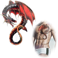 Wholesale Temporary Tattoo Male - Wholesale-Red dragon wings tattoo waterproof Temporary tatto stickers male monster animal totem fakes lugger back tattoo stickers MQA16