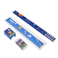 Wholesale Pencil Sharp - Wholesale- 2016 New Stationery Set School Supplies pencil rubber ruler sharper Cute Cartoon Kids Stationery Set Gifts 5PCS Pack