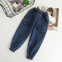 Wholesale Kids Ruffle Jeans - Everweekend Kids Girls Ruffles Denim Pants Casual Ruched Jeans Western Pockets Trousers Mid Waist Full Length Pants