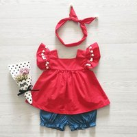 Wholesale Red Top Denim Shorts - Ins 2017 Summer New Baby Girl Sets Pompom Red Top +Denim Shorts +Headband Fashion Outfit Children Clothing 1-5T 1823
