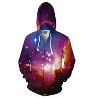 Wholesale Cosmic Black - Wholesale-Cosmic Forces Print 3D Space Galaxy Zip-up Hoodie Men Women Fashion Multicolor Nebula Hooded Fashion Long Sleeve Tracksuit Men
