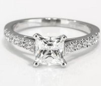D / SI Enhanced Princess Cut Simulation Diamant Verlobungsring 1 CT 14K Weißgold Solitaire