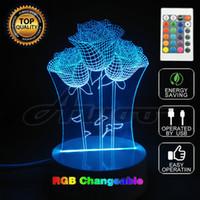 ingrosso notte unica-Creative Rose 3D Camera da letto Luci LED Night Lamp USB Table Desk Lamps Night Lights Novità Home Decor Unico
