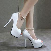 Wholesale Black Bridesmaid Heel Shoes - Adorable concise white pearl beading peep toe platform high heels wedding shoes bridesmaid bride size 34 to 39