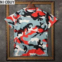 Wholesale military tees - 2017 summer fashion brand tag clothing men short sleeve t-shirt military camouflage t shirt kanye west top tee cotton tshirt
