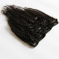 """Wholesale Clips For Natural Hair - 7A Afro Kinky Curly Clip In Brazilian Human Hair Extensions 10pcs 120g Full Head 12""""-26"""" Natural Black Color for African American"""