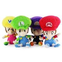 """Wholesale Waluigi Plush Doll - Hot New 4 Styles 6"""" 15CM Super Mario Bros Wario Luigi Waluigi Mario Anime Collectible Dolls Stuffed Party Gifts Soft Plush Toys"""