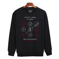 Wholesale Rock N Roll Sweatshirts - Wholesale-Twenty One Pilots Black Gray Harajuku Sweatshirt Cotton in Rock n Roll Mens Hoodies and Sweatshirts us Size Street Style 3xl