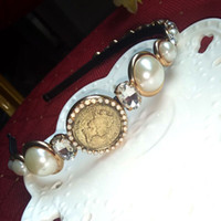 Wholesale Vintage Hair Bands - vintage 2017 luxury brand designer women runway Headwear Baroque pearl hair bands fashion Hair Jewelry brand Accessories white- NC158