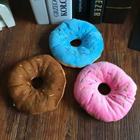 Wholesale pink select - Dog Toy Cute Donuts shape Cream Bakery Lovely Pet Voice Plush Toy Puppy Chew Supplies Three Color Select 3zk F R