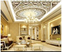 Wholesale wallpapers for free resale online - High Quality Custom d ceiling wallpaper murals High class european style stereo zenith ceiling murals living room wallpaper