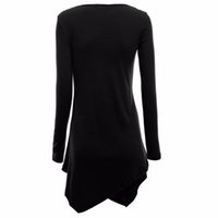 Wholesale Wholesale Long Tunic Tops - Wholesale-Stylish Women Hem Line Long Sleeve Lightweight Knit Tunic Tops T-shirts New G20 DF1