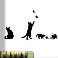 Wholesale Black Bathroom Toilets - Wholesale- 1pcs Cute Cat switch stickers wall stickers home decoration Room Window Wall Decorating Vinyl Decal Sticker Decor Cartoon 2017