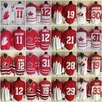 Wholesale Jarome Iginla Jersey - Mens' Retro 11 Mark Messier 12 Jarome Iginla 19 STEVE YZERMAN 21 STAN MIKITA 28 BOBBY CLARKE 29 KEN DRYDEN Vintage Throwback Hockey Jerseys