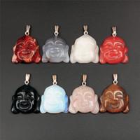 Wholesale Buddhist Bead Necklace Pendant - 10pcs lot Natural Stone Charms for Jewelry Making Tibetan Buddhist Religious Maitreya Buddha Head Statue Amulet Pendant Spacer Beads 35x34mm