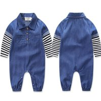 Wholesale Denim Jumpsuit 12 - 2017 ins Boys Baby Jumpsuits Long Sleeve Newborn Onesies Clothing Denim Striped Toddler Romper Spring Autumn Rompers Boutique Clothes