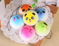 Wholesale Rare Mobile Phone - 3D Kawaii Squishy Rare Jumbo Squishies Panda for Keys Phone Strap Mobile Phone Charm Pendant Keychains Cell Phone Accessories Colorful